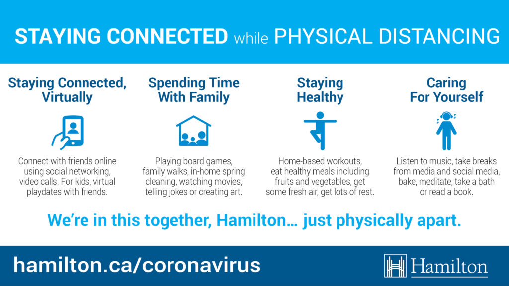 Staying connected, virtually Spending time with family Staying healthy Caring for yourself
